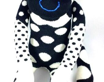 Sock Monkey MURDOCH : black, white, spots, polka dots, handmade plush sock toy softie.