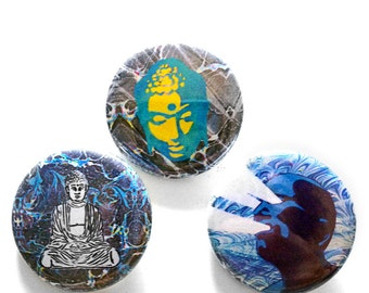 Buddha button pin set