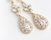 Gold Bridal Earrings Long Wedding Earrings Cubic Zirconia Teardrop Wedding Jewelry Swarovski Crystal Wedding Jewelry VIVIENNE