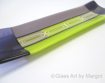 Fused Glass Plate Channel Tray Platter Flow Bar Pattern Purple Green