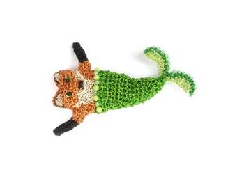 SALE Fox jewelry - mermaid fox brooch, crochet wire brooch, sea creature, fantasy animal brooch, mythical creature, unusual brooch