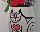 Cat Cookie Jar White Black red heart memorial treat jar kitty lover theme hand painted pet  decor gift earthenware lidded vessel