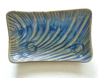 one Nautical soap Dish: ocean decor ripple pattern rustic blue hm pottery day at the beach dreams tide pool tray