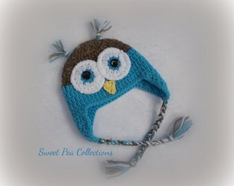 Blue Crochet Owl Earflap Hat Owl Cap Girl Owl Hat with Braids Boy Owl Hat Owl Photo Prop Owl Beanie Blue and Brown and Blue READY TO SHIP
