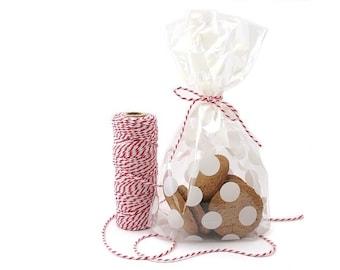 HALF PRICE SALE - 10 Medium Cello Bags - Polka Dot Bags - Plastic Bags - Treat Bags - Gift Bags - Food Packaging - Cookie Bags - Clear Bags
