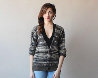 striped cardigan / oversized jumper / 1980s / small - medium