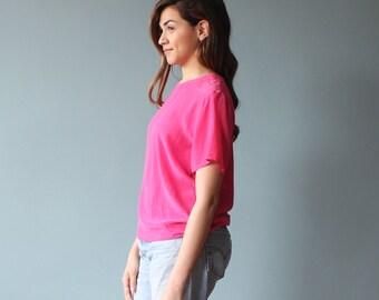 silk blouse / hot pink silk top / silk tee / 1980s / small