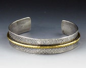 Sterling Silver and Brass Mixed Metal Cuff, Textured Cuff, Cuff Bracelet, Adjustable, sterling cuff, sterling cuff bracelet