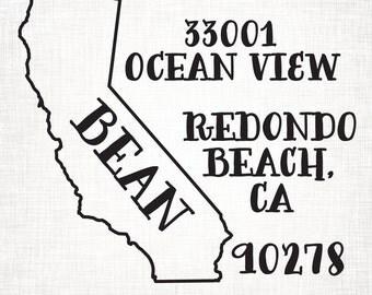 California Personalized Return Address State Stamp