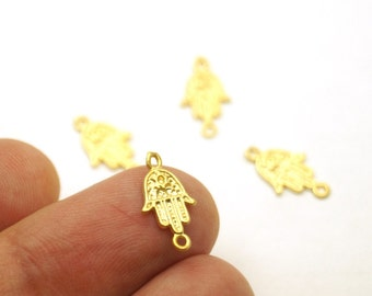 4pcs- Matte Gold plated Hand of Hamsa Charm-15x8mm-(006-042GP)
