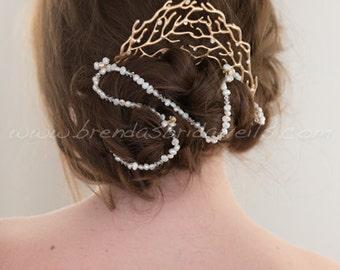 Beach Wedding, Freshwater Pearl Headband, Wedding Headband, Bridal Hair Accessory - Maren