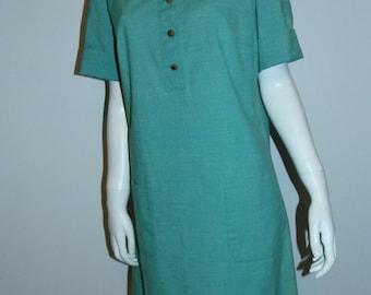 vintage 1960s MOD mini dress / sea foam green cotton barkcloth M / L