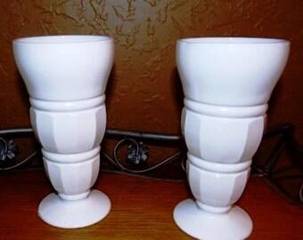 Vintage Pair  of Milk Glass Vases