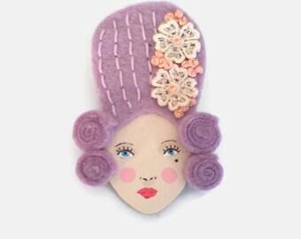 Mary Antoinette Felt Brooch, Fabric Brooch, Victorian Brooch, Wearable Art Jewelry, Mother's Day Gift