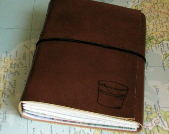 bucket list journal with maps as a travel journal in faux leather (medium brown)