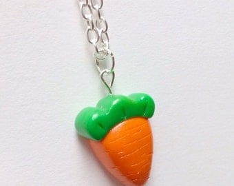 Carrot Necklace Polymer Clay Novelty Gift, Garden Vegetable