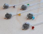BFF Necklace - Hedgehog Necklace - Best Friend Birthstone Necklace -ONE Necklace-