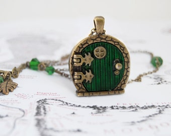 Green Door Locket | Fantasy Door Necklace | Tolkien Brass Door Charm