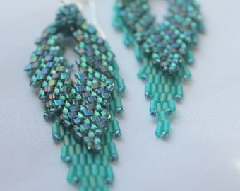 Hand Beaded Teal Russian Leaf earrings with sterling silver Findings