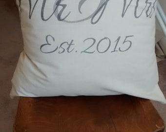 """Custom Made Mr & Mrs Pillow Cover - 16"""""""