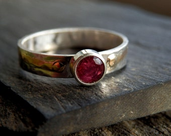 Gold, silver and Madagascar ruby ring / 14k gold accented sterling ring / faceted ruby ring / alternative engagement ring / ruby ring