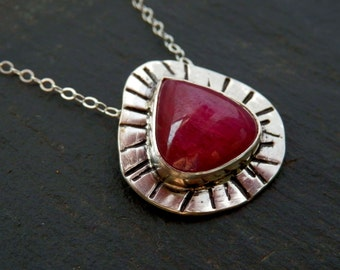 Natural ruby pendant / sterling and teardrop ruby / ruby necklace / July birthstone / boho ruby necklace / ruby jewelry / untreated ruby