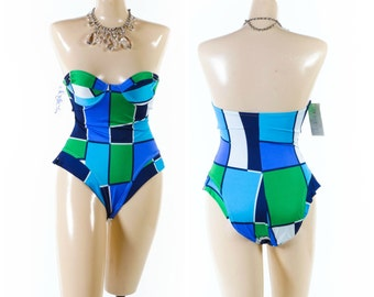 Vintage 80s Swimsuit // Underwire Swimsuit // Color Block Swimsuit // Strapless Swimsuit // NOS with tags - sz M