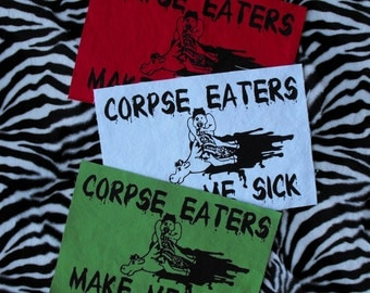 Corpse Eaters Make Me Sick Patch Animal Rights Patch Back Patch Vegan Patch Vegetarian Animal Liberation Patch Vegan Patches Punk Patch
