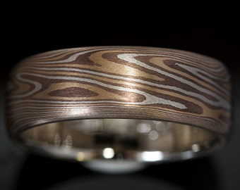 Mokumé Gane Band with 14K Yellow Gold