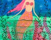 Mermaid Original Painting, Original Art, Watercolor and Collage Painting