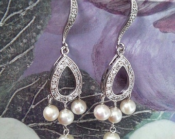 Bridal Pearl Earrings, Gold or Silver Chandelier Dangle Earrings, Wedding Jewelry, Bridesmaid Gift