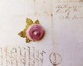 Dusky Rose Pink green Millinery Flower Brooch ~Velveteen Chenille Rosette pin, glass beaded stamens, velvet wedding accessory Victorian trim