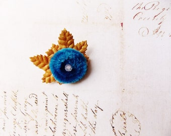 Peacock Blue Ochre Millinery Flower Brooch ~Velveteen Chenille Rosette pin, glass beaded stamens, velvet wedding accessory Victorian trim