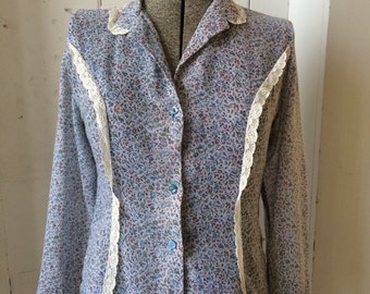 1970s Sheer Prairie Floral Print Tailored Blouse Lace Trim Size 11