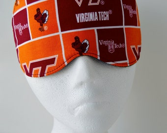 Eye Mask for Sleep or Travel ~ Light Blocking in a 100% Virginia Tech Printed Fabric ~ MADE TO ORDER