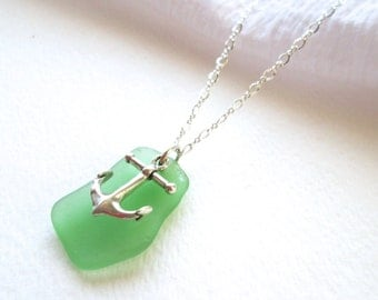 Kelly Green Sea Glass Sterling Silver Necklace with Sterling Silver Anchor Charm