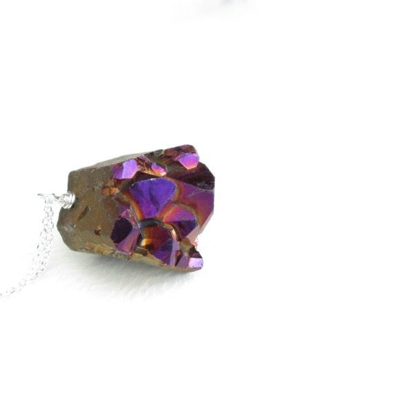 Wine Crystal Drusy Necklace, Sangria Druzy Jewellery, Titanium Quartz