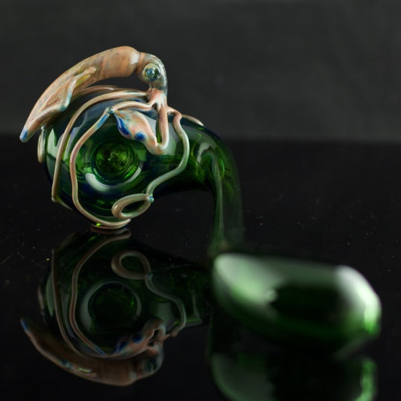 Squid Glass Churchwarden Pipe Hand Blown Thick Wall in Emerald