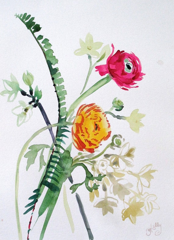 Flowers with Ferns #1- original watercolor flowers painting by Gretchen Kelly