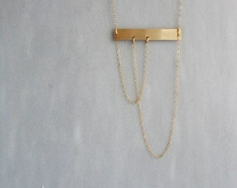 Gold Bar necklace, draped chain necklace, layering necklace layered bar necklace, minimal chain tassel necklace