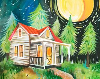 ON SALE TODAY!!  Night Cabin art print | Rustic Wall Art | Nature Scene | Katie Daisy