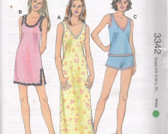 Kwik Sew 3342 Misses Nightgown and Pajamas Pattern V or Scoop Neck Lingerie Womens  Sewing Pattern Size XS  S M L XL Bust 31 - 45 UNCUT