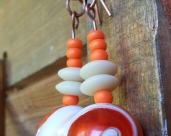 Creamcicle Orange and Cream Swirl Beaded Earrings