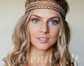 Bohemian hippie stretch headband - 3 pack-  hair headband hair accessory- leather, fabric, bead