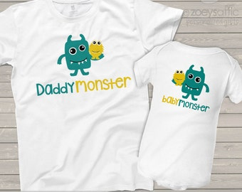daddymonster and babymonster dad and baby matching monster theme dad and kiddo t-shirt or bodysuit - great gift for Father's Day MDF1-014