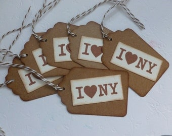 I Love New York gift tags, vintage style, hand stamped, price, hang, party favor tags - set of 6