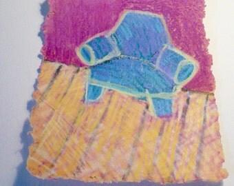 Artist Print OOAK Print Handmade Paper Pulp Painting Print