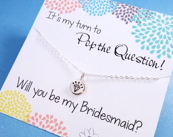 Be my Bridesmaid gift, Asking Bridesmaids cards with necklace, It's my turn to Pop the Question, Bridesmaid gift set, Bridesmaid gifts