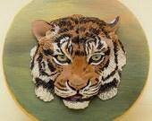 Tiger Art Polymer Clay Animal Sculpture on Wooden Keepsake Box Big Cats Tiger Lover Gift Wildlife Art Endangered Species Bas Relief
