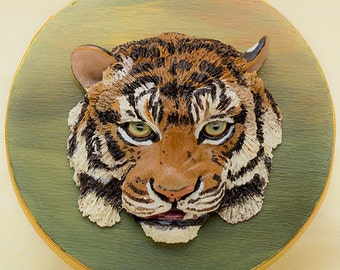 Tiger Art Polymer Clay Animal Sculpture on Wooden Keepsake Box Big Cats Tiger Lover Gift Wildlife Art Endangered Species Bas Relief